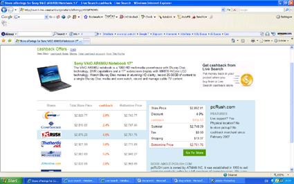 Cashback - laptops