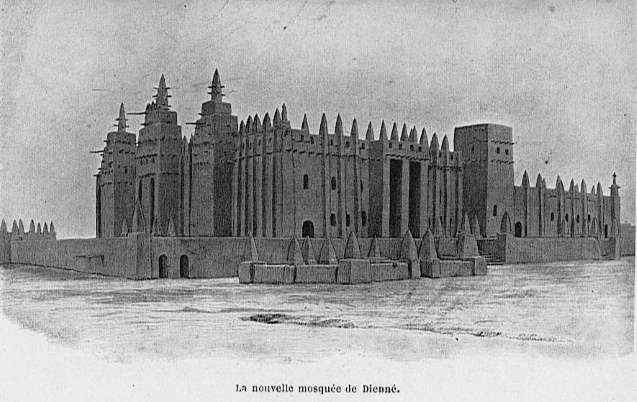 View of the Great Mosque from the northeast as it looked in 1910. From Félix Dubois' Notre beau Niger. Source: Wikipedia
