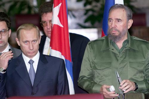 Vladimir Putin and Fidel Castro