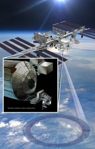 Artist's rendering of NASA's ISS-RapidScat instrument (inset), which will launch to the International Space Station in 2014 to measure ocean surface wind speed and direction and help improve weather forecasts, including hurricane monitoring. It will be installed on the end of the station's Columbus laboratory. Image credit: NASA/JPL-Caltech/JSC (Click image to enlarge)