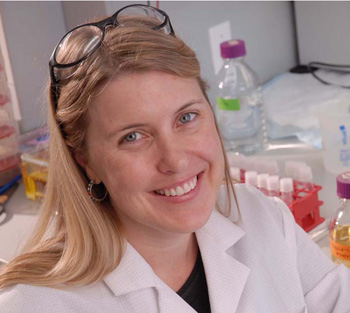 Biologist Sara Sawyer and her colleagues have found a novel way to engineer key cells of the immune system so they remain resistant to infection from HIV, the virus that causes AIDS. Image credit: The University of Texas at Austin