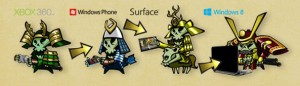 """Skulls Across Platforms. """"Skulls of the Shogun"""" can be downloaded and played on Xbox 360 via the Xbox LIVE Arcade, and on Windows Phone 8 and Windows 8 devices. Image credit: Microsoft (Click image to enlarge)"""