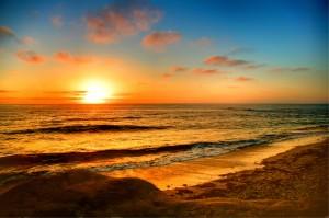 Sunset along a Southern California beach. Location: La Jolla, CA, USA. Image credit: Guy DeMeo, U.S. Geological Survey  (Click image to enlarge)