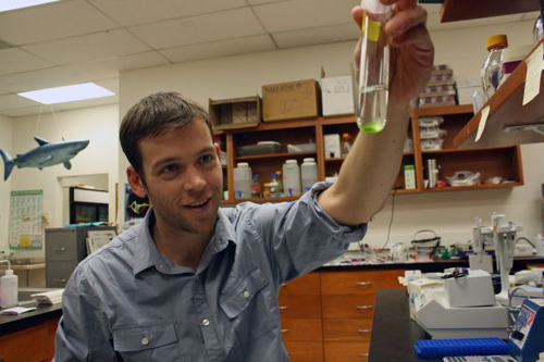 William Driscoll with a vial of algae (not the cheating kind) in the lab. (Photo by: Beatriz Verdugo/UANews)