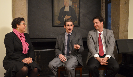 Professor Elizabeth Alexander and Richard Blanco (center) — two of only five poets to have read their works at a presidential inauguration — met at Yale for a discussion hosted by Stephen Pitti (right), master of Ezra Stiles College. (Photo by Michael Marsland)