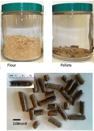 JBEI and INL researchers densified the energy content of a blend of biofuel feedstocks by milling the mixture into flour or pellets. Densification makes transporting the feedstocks easier and less expensive. Image credit: by Berkeley Lab