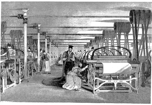 Illustration of power loom weaving (1835). History of the cotton manufacture in Great Britain by Sir Edward Baines. Image source: Wikipedia