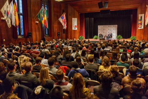 Madeleine Albright and Henry Paulson spoke to a packed audience at International House. Albright, who became the highest ranking woman in U.S. history when President Bill Clinton appointed her as the 64th U.S. secretary of state in 1997, spoke about her experiences as a pioneer for female government leadership. Photo by Jason Smith
