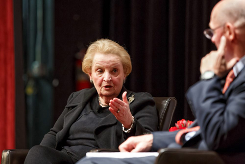 Former U.S. Secretary of State Madeleine Albright was on campus on Feb. 7 for a wide-ranging discussion with Henry M. Paulson Jr. about international affairs and her path-breaking career. Photo by Jason Smith