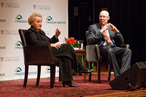 """One of the hardest parts of being a decision-maker is trying to figure out where you can make a difference,"" said Madeleine Albright in response to a student question about whether the United States could be doing more in Syria. Photo by Jason Smith"