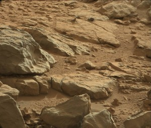 A shiny-looking Martian rock is visible in this image taken by NASA's Mars rover Curiosity's Mast Camera (Mastcam) during the mission's 173rd Martian day, or sol (Jan. 30, 2013). Image Credit: NASA/JPL-Caltech/Malin Space Science Systems (Click image to enlarge)