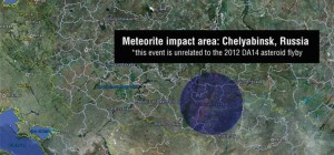 A meteor seen flying over Russia on Feb. 15 at 3:20: 26 UTC impacted Chelyabinsk. Preliminary information is that this object was unrelated to asteroid 2012 DA14, which made a safe pass by Earth today. Image credit: Google Earth, NASA/JPL-Caltech (Click image to enlarge)
