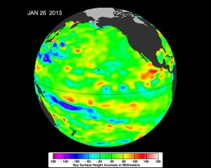 """The latest image of sea surface heights in the Pacific Ocean from NASA's Jason-2 satellite shows that the equatorial Pacific Ocean is now in its 10th month of being locked in what some call a neutral, or """"La Nada"""" state. """"La Nadas"""" make long-range climate forecasting more difficult due to their greater unpredictability. Yellows and reds indicate areas where waters are relatively warmer and have expanded above normal sea level, while blues and purple areas show where waters are relatively colder and sea level is lower than normal. Green indicates near-normal sea level conditions. Image credit is NASA-JPL/Caltech/Ocean Surface Topography Team. (Click image to enlarge)"""