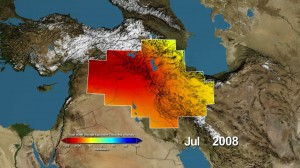 Variations in total water storage from normal, in millimeters, in the Tigris and Euphrates river basins, as measured by NASA's Gravity Recovery and Climate Experiment (GRACE) satellites, from January 2003 through December 2009. Reds represent drier conditions, while blues represent wetter conditions. The majority of the water lost was due to reductions in groundwater caused by human activities. By periodically measuring gravity regionally, GRACE tells scientists how much water storage changes over time. Image credit: NASA/UC Irvine/NCAR (Click image to enlarge)