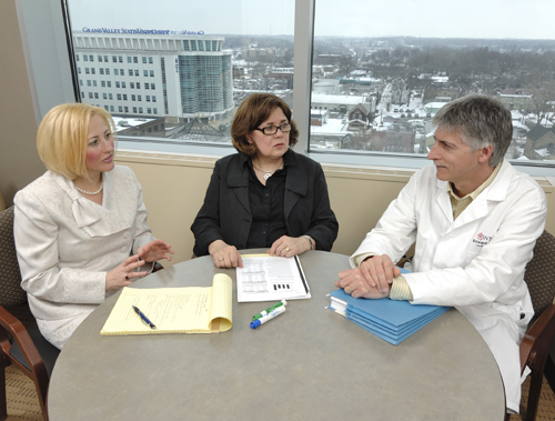From left, Amy Hoffman, MSU assistant professor of nursing; Ruth Ann Brintnall, associate professor at Grand Valley State University and clinical consultant for the research team; and Edward Murphy, MSU clinical associate professor of surgery. Photo by Harley Seeley