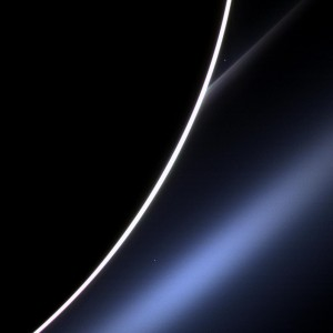 Dawn on Saturn is greeted across the vastness of interplanetary space by the morning star, Venus, in this image from NASA's Cassini spacecraft. Venus appears just off the edge of the planet, in the upper part of the image, directly above the white streak of Saturn's G ring. Lower down, Saturn's E ring makes an appearance, looking blue thanks to the scattering properties of the dust that comprises the ring. A bright spot near the E ring is a distant star. Image Credit: NASA/JPL-Caltech/Space Science Institute Image credit: NASA/JPL-Caltech/Space Science Institute (Click image to enlarge)