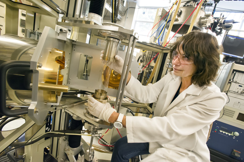 Edith Bourret-Courchesne, Berkeley Lab materials scientist, heads a facility that provides a wide range of crystal purification, growth and characterization capabilities. (Photo by Roy Kaltschmidt)