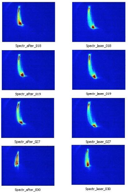 An electron beam accelerated by a laser in free space. Each row of two frames represents one snapshot-pair of laser on (on the right side) and laser off (on the left side) with unchanged configuration. One can see a clear increase from these pictures, proof that the laser accelerates the 20 mega electron volts electron beam in vacuum. Pictures of the beam momentum spread after the spectrometer taken with the laser off (left column) and the laser on (right column). The length of the beam image reveals the energy spread of the beam. The experiment recorded 30 shots. Twenty shots were high intensity and showed effects of the laser on/laser off difference. Four shot examples are shown here. Pictures are taken from spectrometer on Beam Line #1 at BNL-ATF. Image credit: University of California