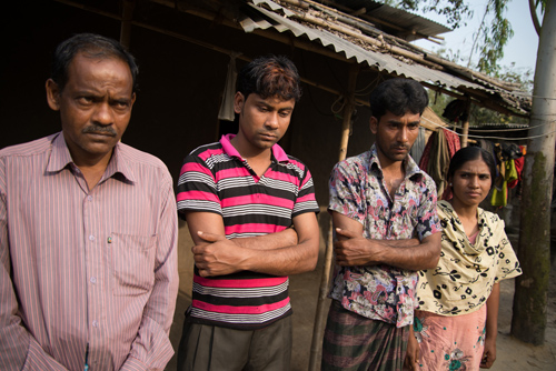 A family of four each sold an organ to repay loans in Bangladesh. They are, from left, Janan Alam, Mohammed Saharul Islam, Mohammed Meherul Islam and Selina Akther. Photo by Kirk Mason