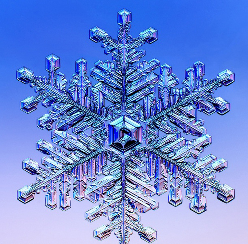 Like the formation of a snowflake, the growth of every crystal is unique, but researchers at Berkeley Lab's crystal growth facility seek to make crystal growth more exact. (Image from Caltech)