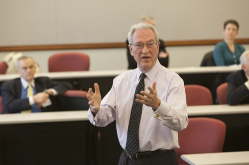 Michael Jensen, financial economics expert, discussed integrity issues and resultant effects on individuals and corporations at the annual Hutchinson Lecture at the University of Delaware. Photo by Ambre Alexander