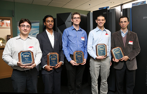 The top winners of IBM's 2012 Master the Mainframe Contest from North America, Spain and Spanish Latin America were flown to Poughkeepsie, NY for an awards ceremony. From the left: Paolo Carlos, Madrid; Sushain Cherivirala, Dulles High School; Miles Nosler, Texas State University; Benjamin Paul, Rose-Hulman Institute of Technology; Nahuel Tori, Argentina (Photo Credit: Jeffrey Bisti, IBM)