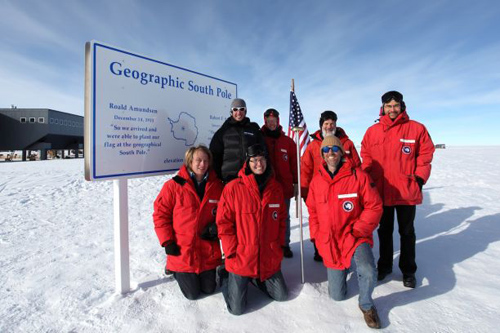 The joint U.S.-Australia team visited the telescope in January, pausing briefly to enjoy the comparatively warm -20 degree Fahrenheit temperatures at the geographic South Pole before flying onward to Ridge A. (Photo by: Geoff Sims)
