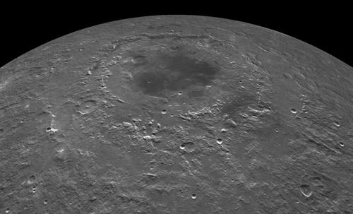 """Melting on a massive scale. An impact event that formed the Orientale basin created a sea of molten rock 220 miles across and six miles deep. More recent lunar melts may help explain some puzzling questions and lead to some reinterpretations of lunar data including Apollo """"moon rocks."""" Image credit: NASA"""