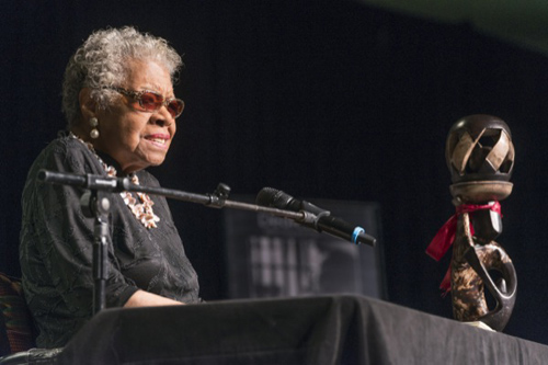 Maya Angelou addresses an enthusiastic crowd at the sold-out Bob Carpenter Center. Photos by Kathy F. Atkinson and Evan Krape