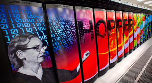 The bulk of the Planck computations were performed on the Cray XE6 supercomputer, named for computer scientist Grace Hopper, at the Department of Energy's National Energy Research Scientific Computing Center at the Lawrence Berkeley National Laboratory, Berkeley, Calif. Image courtesy Lawrence Berkeley Nat'l Lab - Roy Kaltschmidt, photographer
