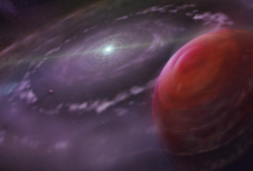 Artist's rendering of the planetary system HR 8799 at an early stage in its evolution, showing the planet HR 8799c, a disk of gas and dust, and interior planets. Image credit: Dunlap Institute for Astronomy & Astrophysics; Mediafarm