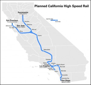 Planned high-speed rail system in California. Image credit. University of California (Click image to enlarge)