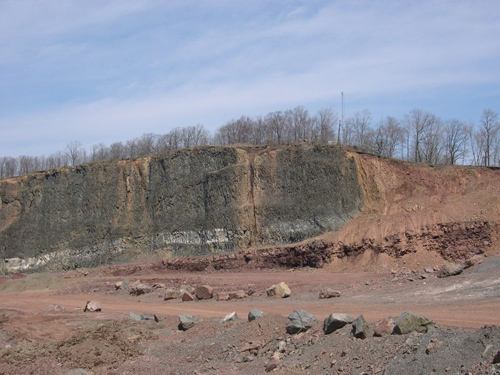 In a rock basin near Newark, N.J., the extinction is preserved in sandstone and mudstone. Image credit: Terrence Blackburn and Paul Olsen