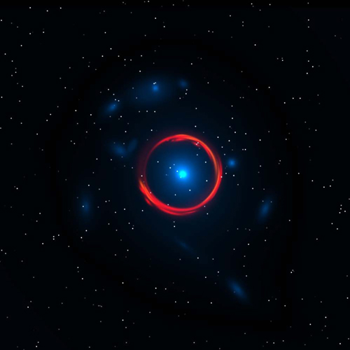 This artist's impression depicts one of the SPT-discovered light sources based on observations by Atacama Large Millimeter Array and the Hubble Space Telescope. The massive central galaxy (in blue, seen by the Hubble telescope) bends the light of a more distant, submillimeter-bright galaxy, forming a ring-like image of the background galaxy that is observed by ALMA (red). Illustration by Y. Hezaveh