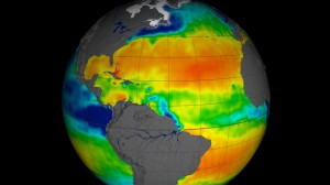 NASA has released the first full year of validated ocean surface salinity data from the agency's Aquarius instrument aboard the Aquarius/SAC-D spacecraft. The data cover the period from Dec. 2011 through Dec. 2012. Red colors represent areas of high salinity, while blue shades represent areas of low salinity. Among the prominent salinity features visible in this view are the large area of highly saline water across the North Atlantic. This area, the saltiest anywhere in the open ocean, is analogous to deserts on land, where little rainfall and much evaporation occur. Aquarius is a focused effort to measure ocean surface salinity and will provide the global view of salinity variability needed for climate studies. The mission is a collaboration between NASA and the Space Agency of Argentina (Comisión Nacional de Actividades Espaciales). Image credit: NASA/GSFC/JPL-Caltech  (Click image to enlarge)
