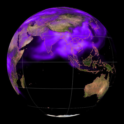 Black carbon, a short-lived pollutant (shown in purple), shrouds the globe. Image credit: NOAA