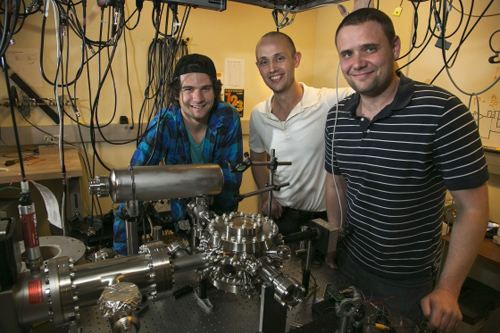 In Hudson's lab. Steven Schowalter, Eric Hudson and Scott Sullivan (left to right) in Hudson's UCLA physics laboratory (Image credit: Reed Hutchinson/UCLA)
