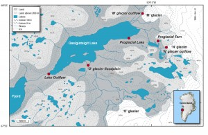 Research area: During the course of two expeditions to the Greenland ice sheet in May and July 2008, Bhatia and her colleagues collected samples from sites at three land-terminating glaciers. The meltwater from these glaciers travels through a flood plain and eventually drains into Qasigiatsigit Lake, before finally emptying into the fjord. (courtesy Maya Bhatia, Woods Hole Oceanographic Institution) (Click image to enlarge)