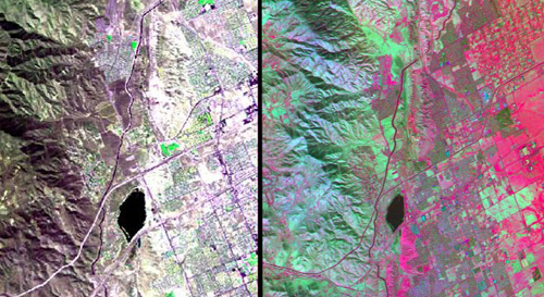 The HyspIRI airborne campaign overflew California's San Andreas Fault on March 29, 2013. The three-color (red, green, blue) composite image of the fault (left), composed from AVIRIS data, is similar to what a snapshot from a consumer camera would show. The entirety of data from AVIRIS, however, spans the visible to the short-wavelength infrared part of the spectrum. Temperature information (right) was collected simultaneously by the MASTER instrument. Red areas are composed of minerals with high silica, such as urban areas, while darker and cooler areas are composed of water and heavy vegetation. Image credit: NASA/JPL
