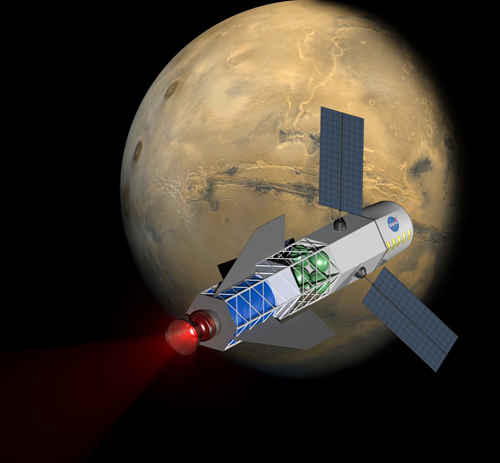 A concept image of a spacecraft powered by a fusion-driven rocket. In this image, the crew would be in the forward-most chamber. Solar panels on the sides would collect energy to initiate the process that creates fusion. Image credit: University of Washington, MSNW