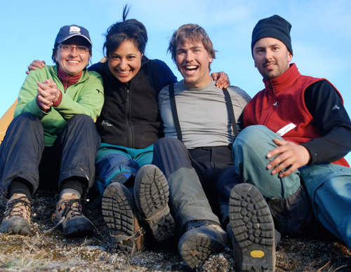 The study's lead author, Maya Bhatia, second from left, spent seven weeks on the southwestern margin of the Greenland ice sheet in the spring/summer 2008 with her colleagues: WHOI marine chemist Liz Kujawinski, far left, field assistant Ben Gready, second from right, from the University of Alberta, and WHOI marine chemist Matt Charette, far right. Other colleagues included glaciologist Sarah B. Das, and chemistry research associates Crystaline F. Breier and Paul Henderson, all from WHOI. (Photo by Matt Charette, Woods Hole Oceanographic Institution)