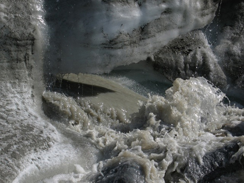 Close-up of the outlet of the 'N' glacier outflow. The meltwater exiting the base of the glacier is extremely turbid, with high suspended sediment loads from interaction with the bedrock and sediments beneath the glacier. (Photo by Ben Gready, University of Alberta)
