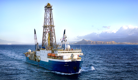 Records of sea surface temperatures going back five million years reveal a world with fairly uniform warm temperatures in the Tropics prior to four million years ago. The JOIDES Resolution, a scientific drilling ship, is the primary way scientists get samples from past geologic periods. (Photo by William Crawford, IODP-USIO).