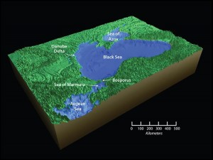The breach of the Bosporus sill connected the Black Sea to the Sea of Marmara and the world ocean. As glaciers melted and global sea levels began to rise, the Black Sea also rose, bringing it to its present day level. Image credit: Jack Cook, Woods Hole Oceanographic Institution (Click image to enlarge)