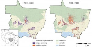 Double cropping in a decade. Double cropping (orange) in Mato Grosso has increased noticeably between 2000-01 and 2010-11. The benefits extend broadly in the regional economy. Image credit: Brown University (Click image to enlarge)