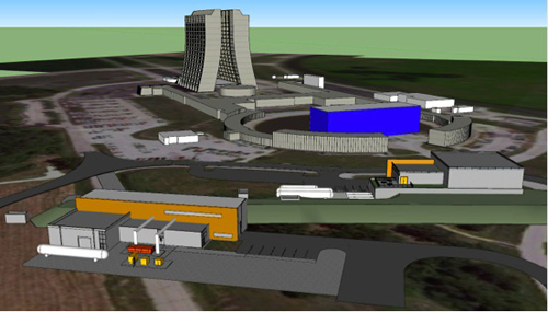 Conceptual drawing of the buildings on the Fermilab site that will host the new Muon g-2 and Mu2e experiments. Image credit: Fermilab