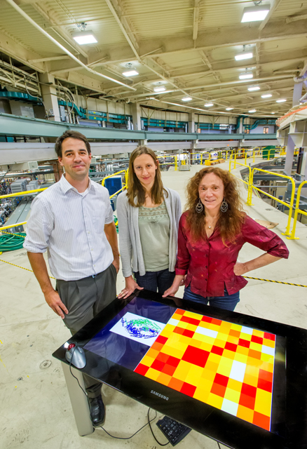 Greg Hura, Helen Budworth and Cynthia McMurray, shown here at the Advanced Light Source, developed a structural comparison map for SAXS imaging and tested it on a chemotherapeutic target protein. (Photo by Roy Kaltschmidt, Berkeley Lab)