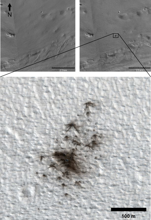 Images taken by the UA-led High Resolution Imaging Experiment, or HiRISE, reveal new impact craters that formed between 2010 and 2011. (Photo by: NASA/JPL-Caltech/MSSS/UA)