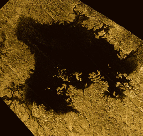 Ligeia Mare, shown in here in data obtained by NASA's Cassini spacecraft, is the second largest known body of liquid on Saturn's moon Titan. It is filled with liquid hydrocarbons, such as ethane and methane, and is one of the many seas and lakes that bejewel Titan's north polar region. Cassini has yet to observe waves on Ligeia Mare and will look again during its next encounter on May 23, 2013. Image credit: NASA/JPL-Caltech/ASI/Cornell