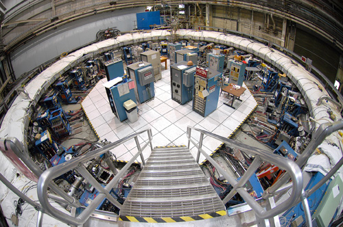 The Muon g-2 storage ring, in its current location at Brookhaven National Laboratory in New York. The ring, which will capture muons in a magnetic field, must be transported in one piece, and moved flat to avoid undue pressure on the superconducting cable inside. Image credit: Brookhaven National Laboratory